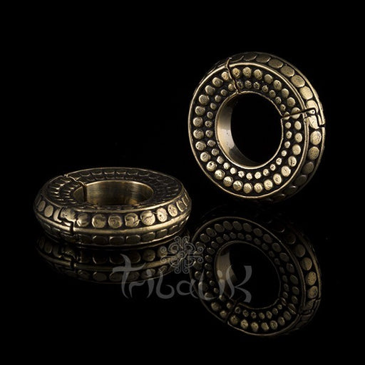 BRASS RAISED CIRCLE PATTERN EAR WEIGHTS VORTEX