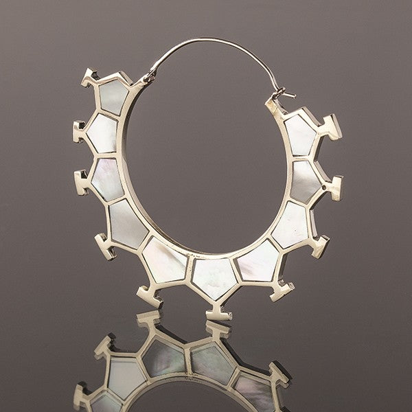 MARAMA Honeycomb White Bronze & Mother Of Pearl Earrings - Large