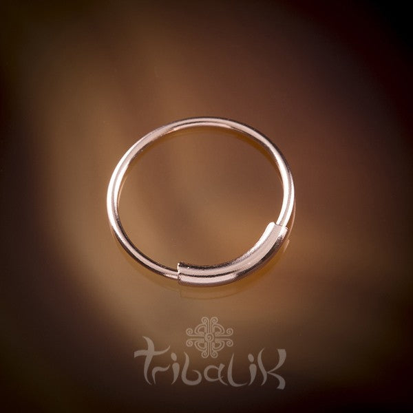 Traditional Plain Rose Gold Plated Silver Nose Ring