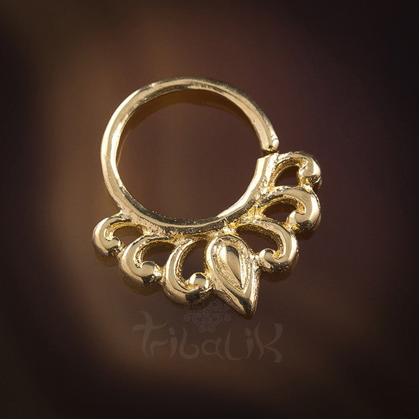 Lily Droplet Gold Plated Silver Septum Ring for Pierced Nose - 1mm 18g