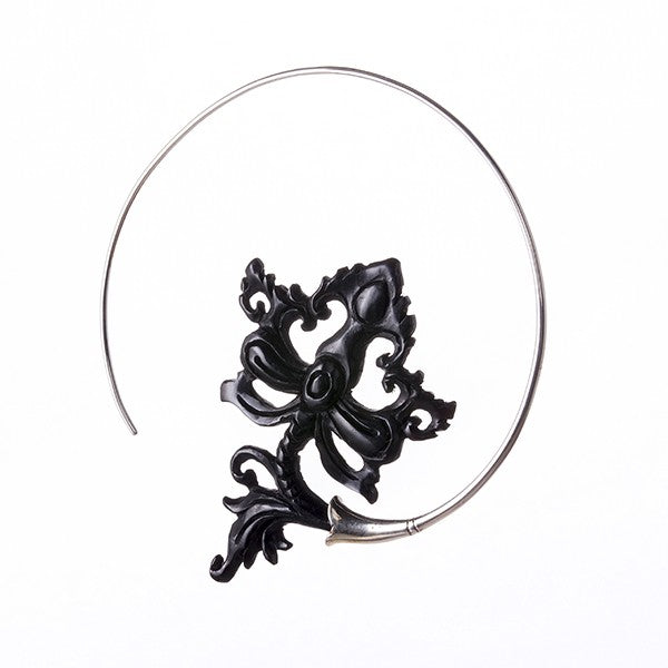 Sterling silver hoop earrings with black horn