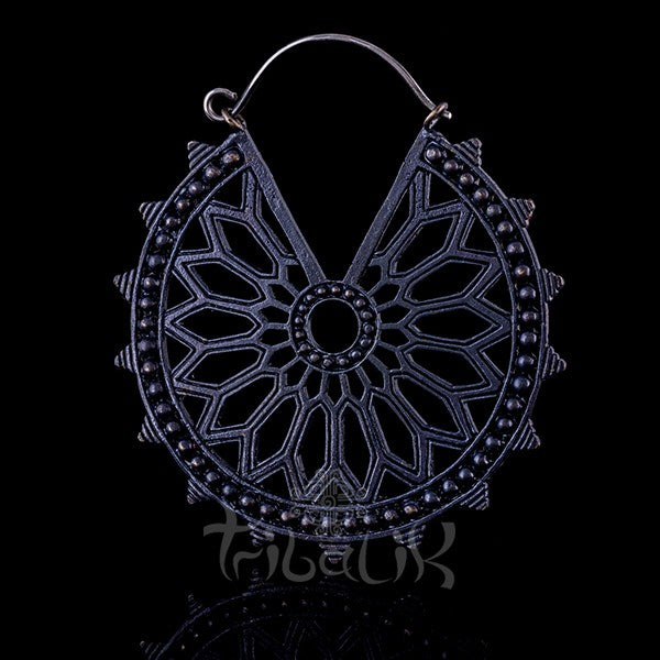 Gunmetal Hoop Earrings | Geometric Mandala | SORCERY