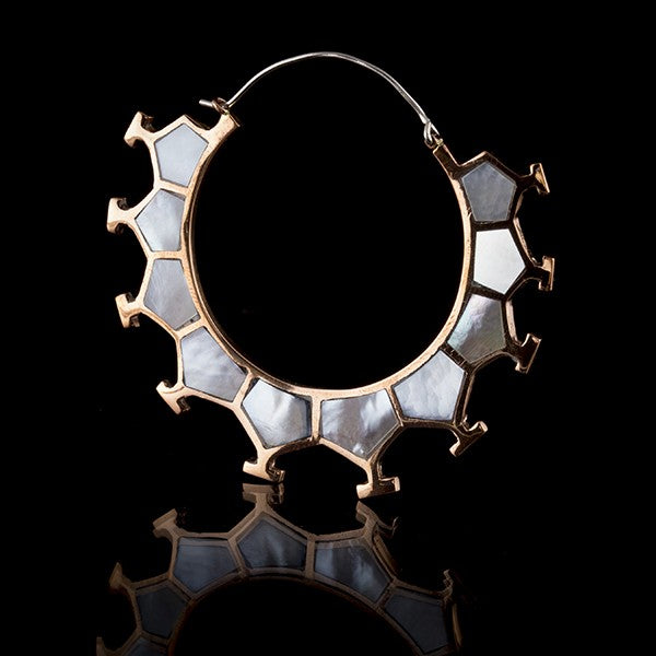 copper and mother of pearl hoop earrings