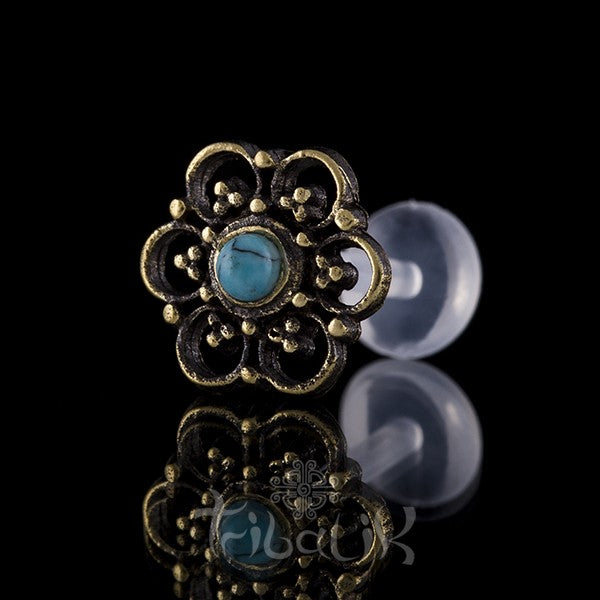 Brass Summer Flower Turquoise Labret/Tragus Stud