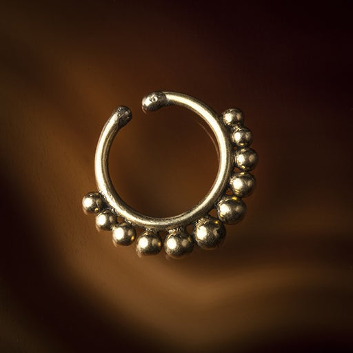 Sarika Eleven Faux / Fake Brass Septum Ring - Clip On