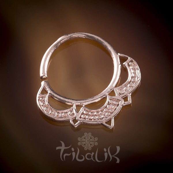 Terena Rose Gold Plated Septum Ring For Pierced Nose