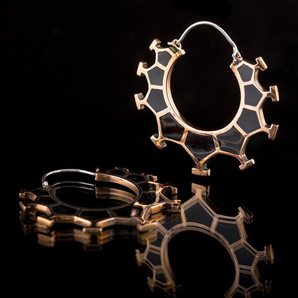 silver copper black resin hoop earring honeycomb