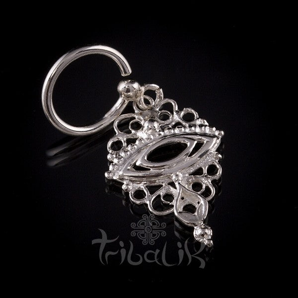 Sterling Silver Indian Style Eye Belly Ring