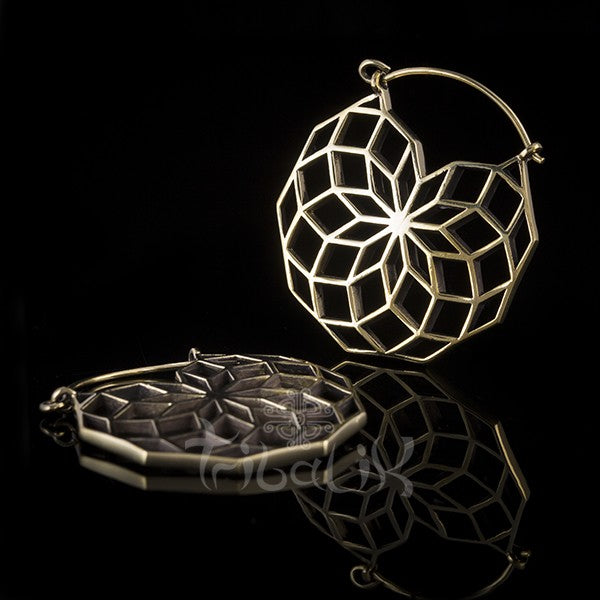 Brass Seed of Life 3D Hoop Earrings