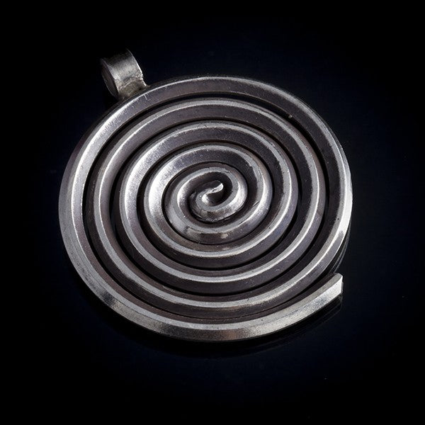 sterling silver pendant coil spiral