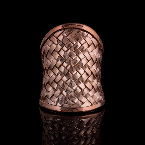 18K Rose Gold Ring | Plated Woven Latice