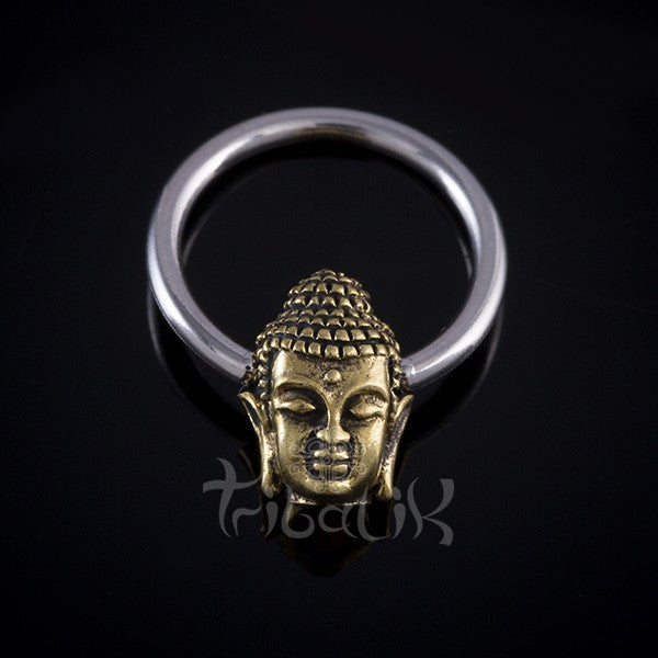 Stainless Steel and Brass Buddha Body Ring