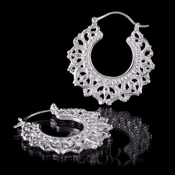 Silver Plated 'DIVINE CROWN' Small Hoop Earrings