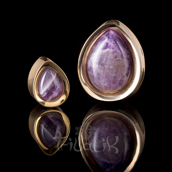 amethyst and gold ear weights