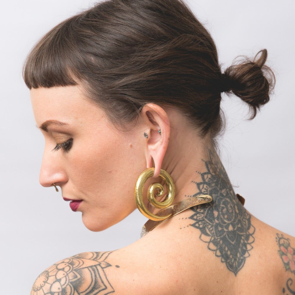 brass spiral ear weights