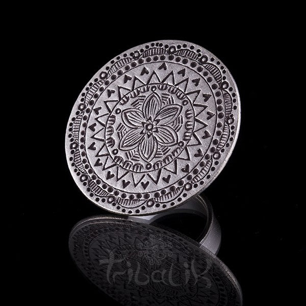 Silver Thai Hill Tribe Floral Engraved Ring