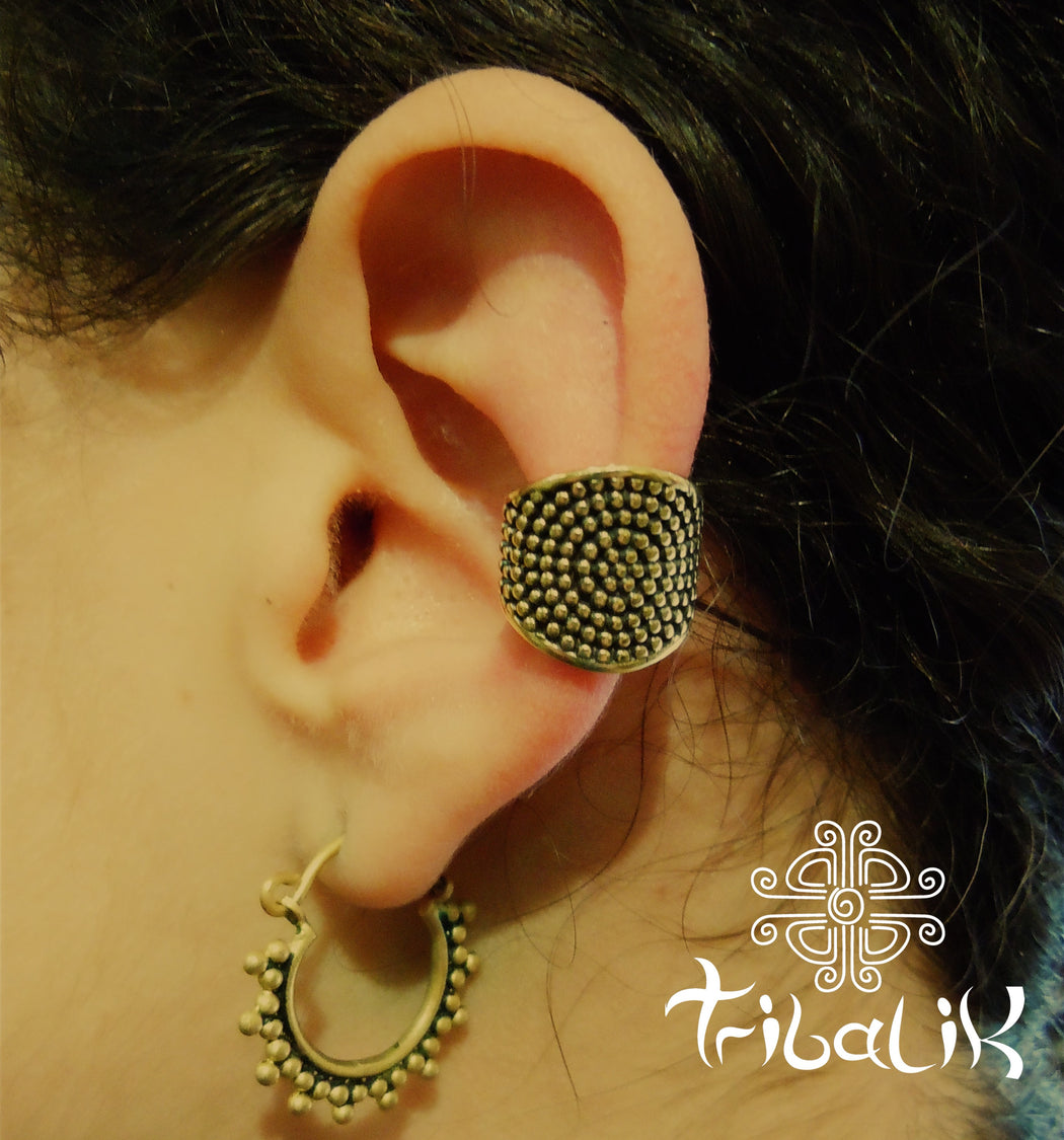 Dot Textured Brass Ear Cuff