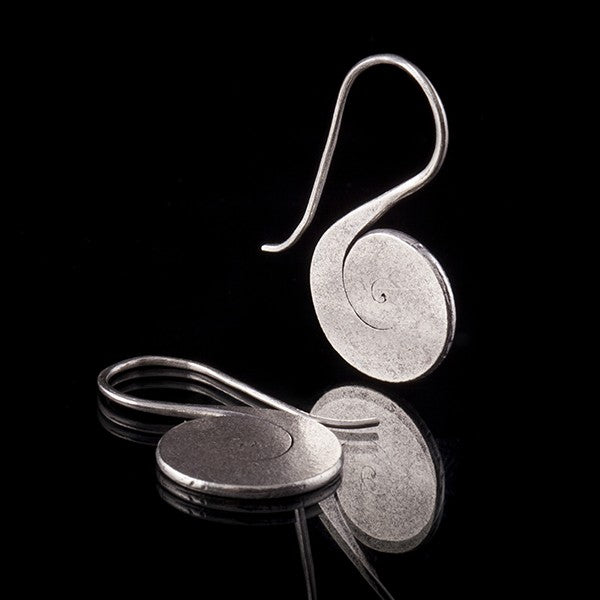 Sterling Silver Flat Spiral Earrings