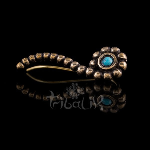 Brass Ear Climber | Turquoise