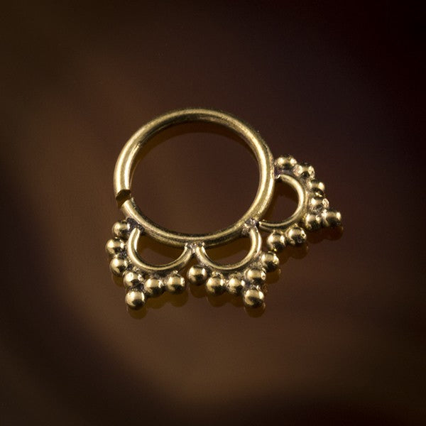 Dotted Petals Brass Septum Ring for Pierced Nose - 1mm