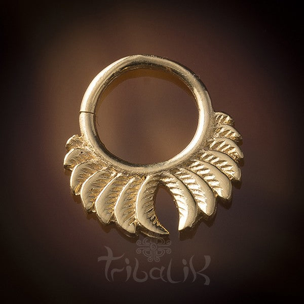 Feather wings Gold Plated Sterling Silver Septum Ring For Pierced Nose 1mm 18g Wire