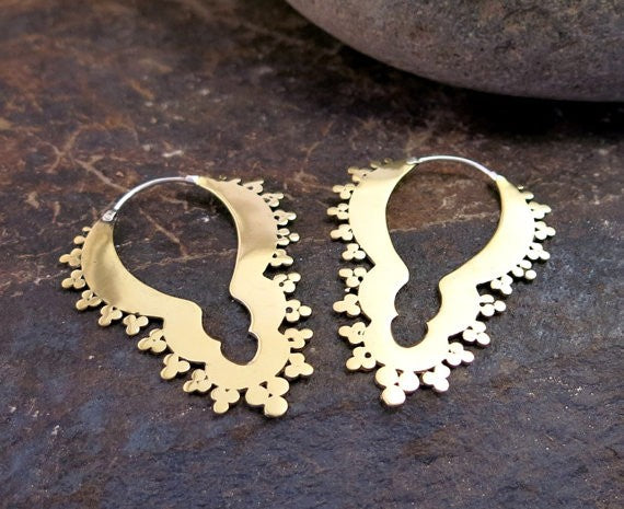 Ornate Brass Fractal Earrings - Silver Clasp