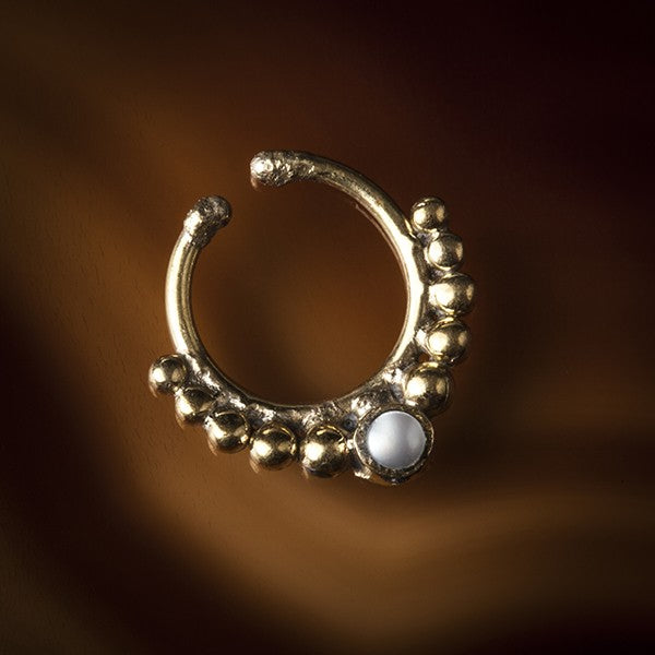 Pearl Faux / Fake Brass Septum Ring - Clip on - Eka