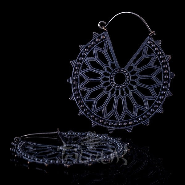 Gunmetal Hoop Earrings, Geometric Mandala- Sorcery
