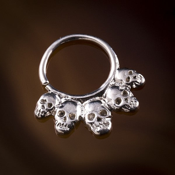 skull sterling silver septum ring