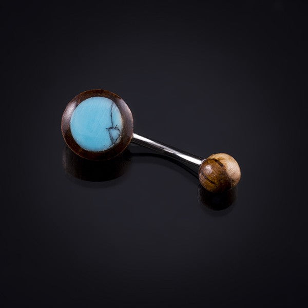 brown and turquoise and silver belly bar