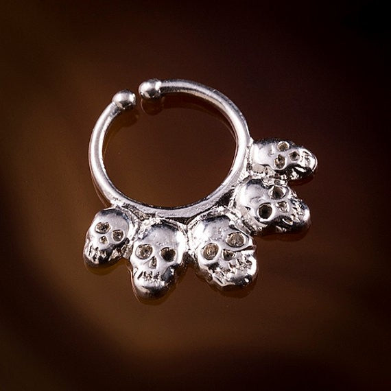 sterling silver skull cheater septum