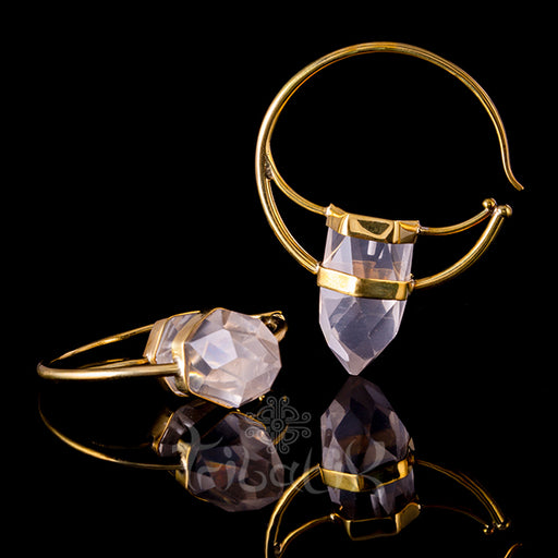 gold crystal ear weights