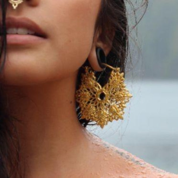 22K Gold Plated Hoop Earrings Ear Weights- Copo
