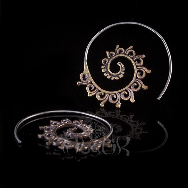Copper Swirling Spiral Earrings