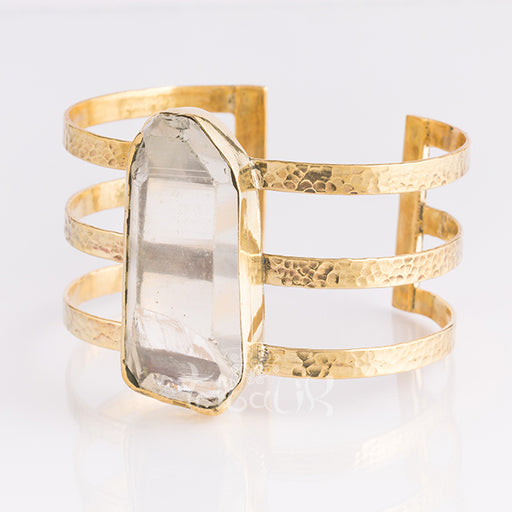 gold brass raw crystal bracelet cuff