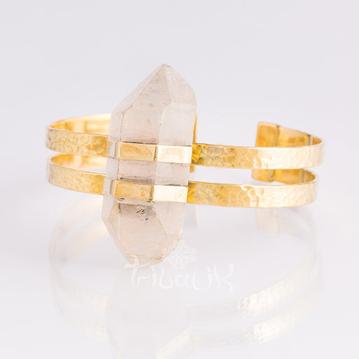 crystal and brass bracelet cuff
