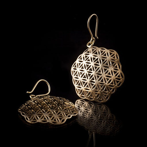 Brass Flower of Life Hook Drop Earrings