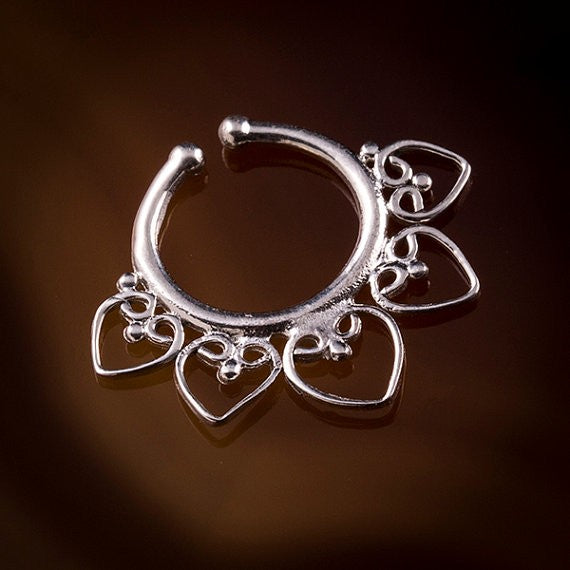 Heart mandala Faux / Fake Silver Septum Piercing
