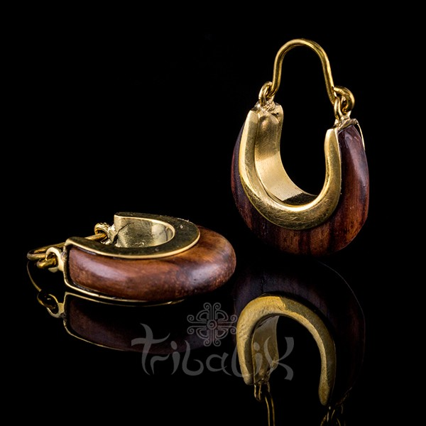 Brass Ebony Wood Hoop Earrings Horseshoe