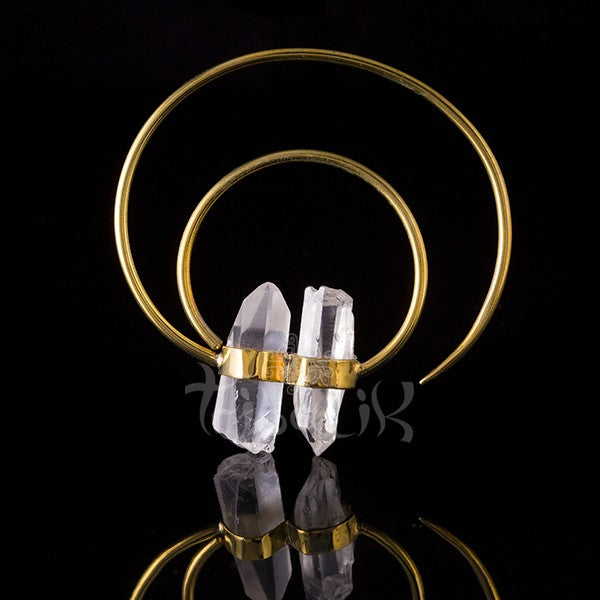 ROCKIN' IT Double Quartz and Brass Hoop Earrings