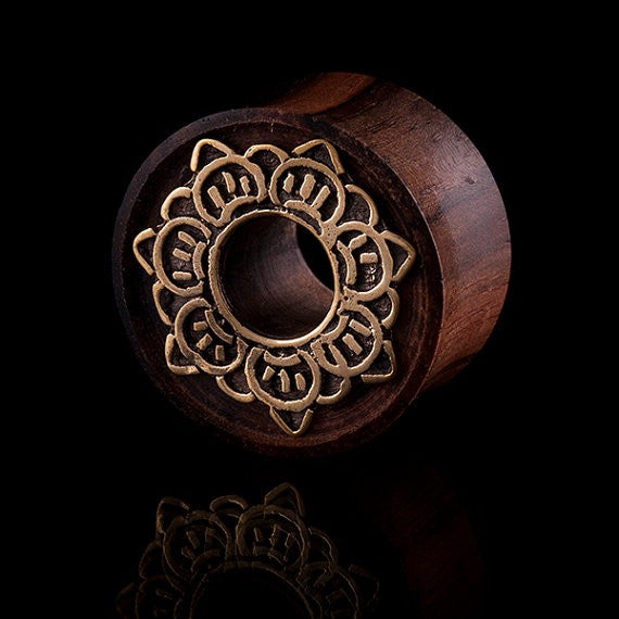 Solar Organic Ebony Wood and Brass Ear Tunnel/ Eyelet