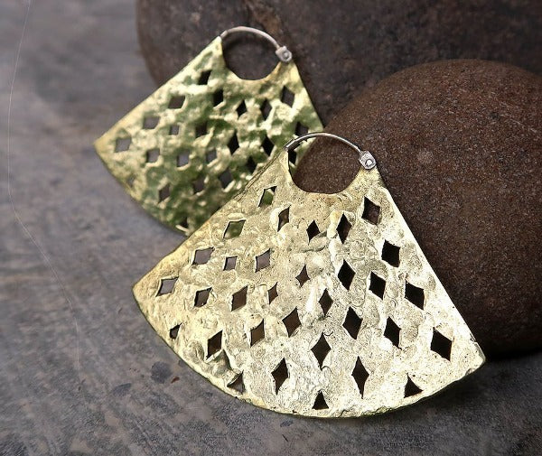 Brass Statement Earrings - Saffron