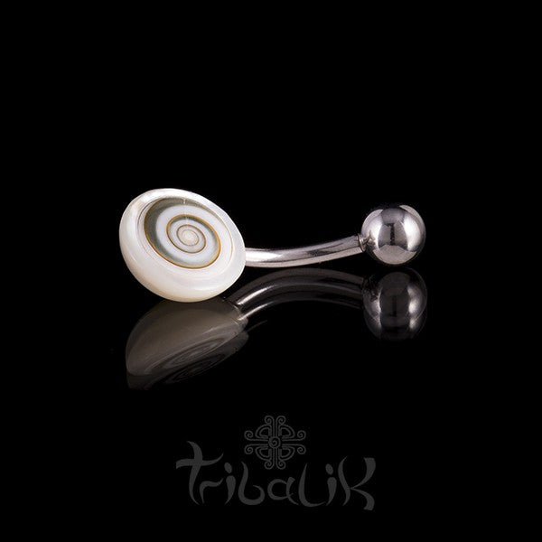 Shiva Eye & Mother of Pearl Framed Belly Bar
