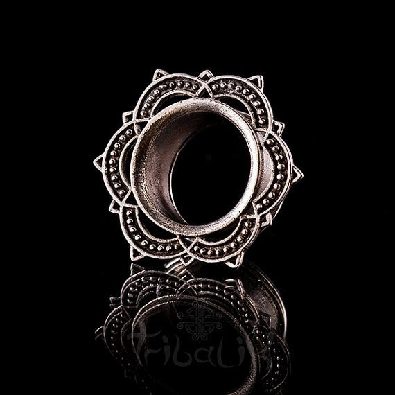 Lotus Mandala Ear Tunnels - Eyelets 4mm - 25mm