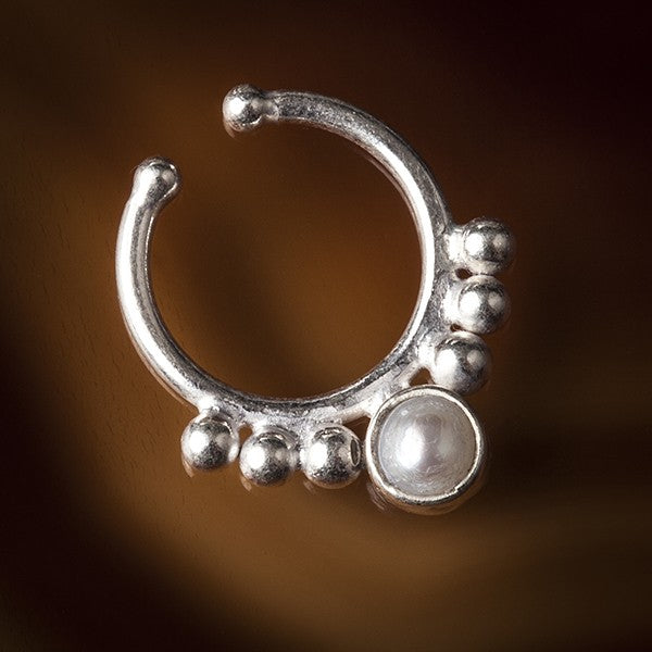 cheater silver septum ring pearl