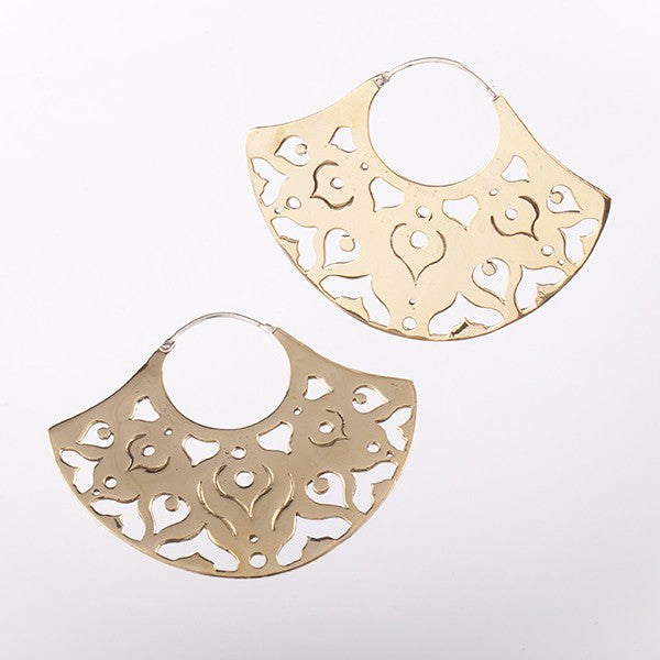 Ibo Gold Fan Earrings- Silver Clasp
