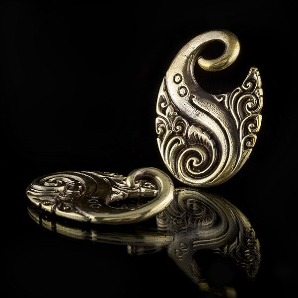 Gold Brass Ornate Ear Weights