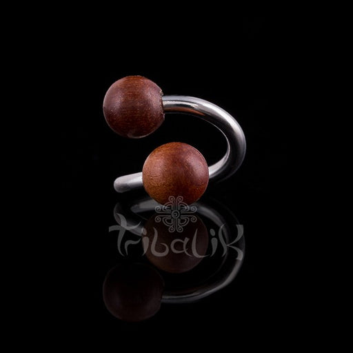 Iron Wood Nipple Bar | Twist Stainless Steel