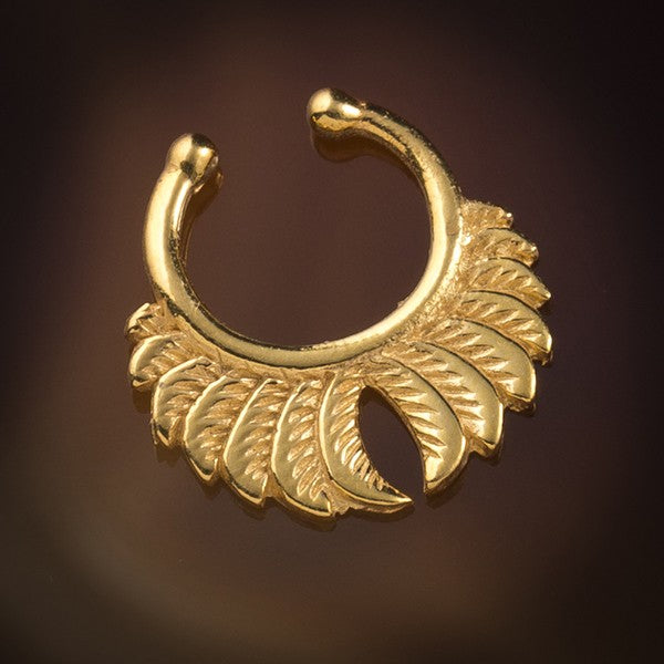 Feather Wings Faux / Fake Gold Plated Brass Septum Ring - Clip on