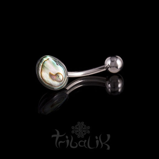 Abalone Disc Belly Bar- Naval Piercing